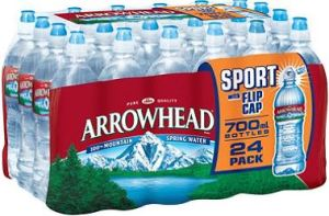 Arrowhead water, bottled by Nestlé from various springs in California including Strawberry Canyon in the San Bernardino National Forest.