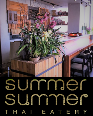 Interior photo of Thai restaurant, Summer Summer, with their logo underneath.