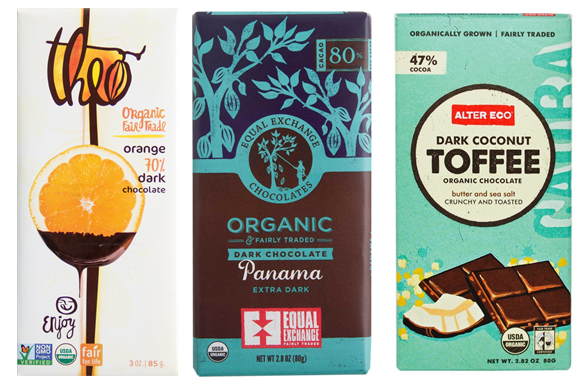 Three slavery-free chocolate bars: Theo orange dark chocolate, Equal Exchange Panama, and Alter Eco Dark Coconut Toffee