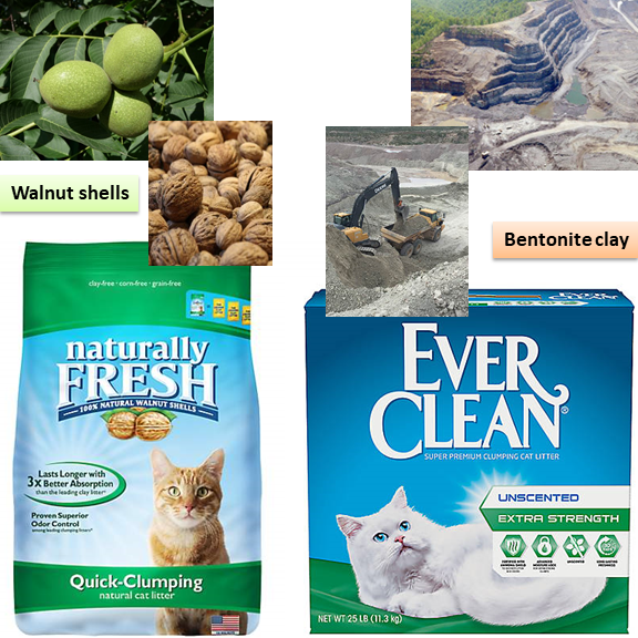 Walnut shells are shown next to Naturally Fresh brand of cat litter while a bentonite clay strip mine is shown next to Ever Clean litter.
