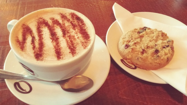 A capuccino and cookie at Esquires cafe in Dublin.